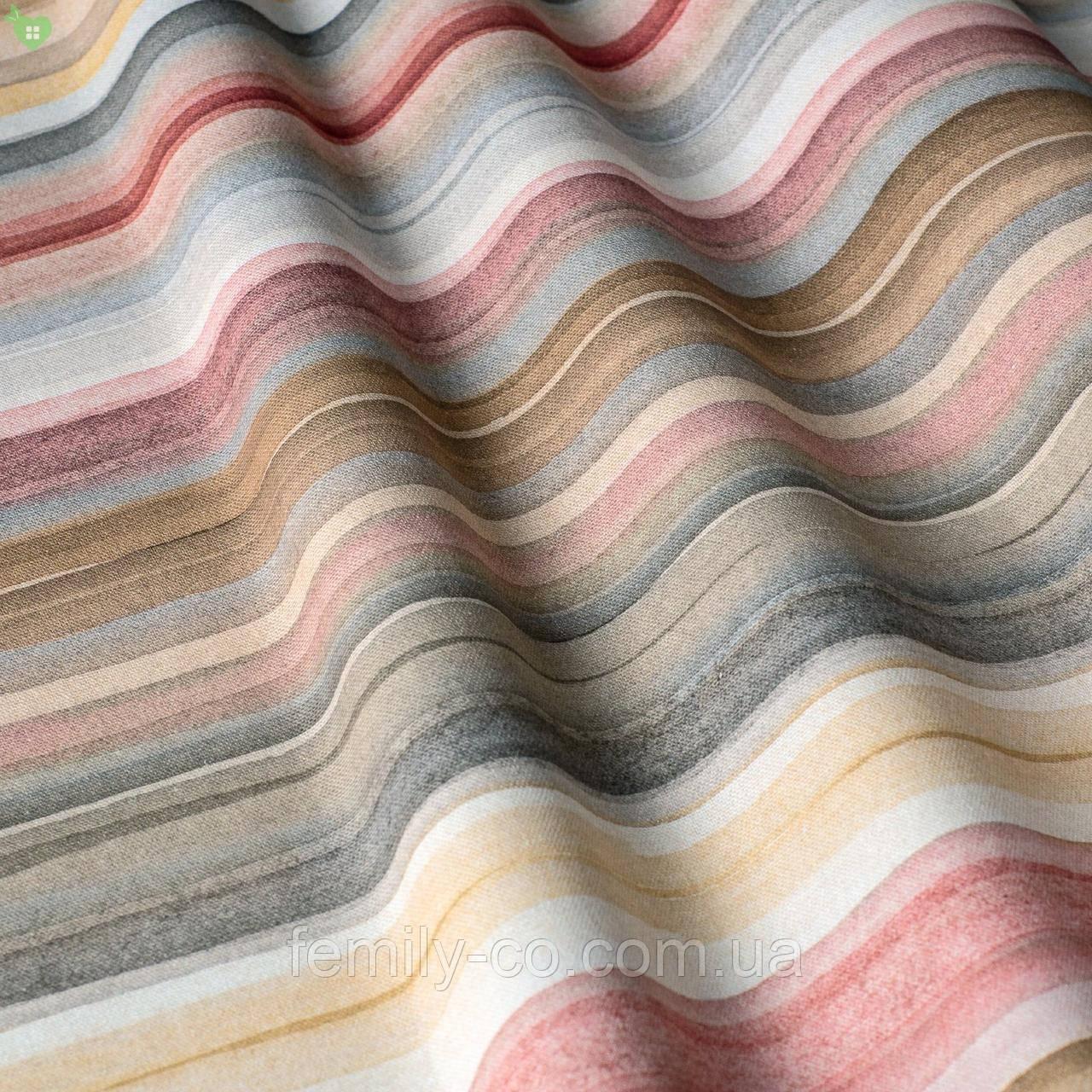Декоративная ткань в разноцветную полоску для покрывала в детскую 84307v1