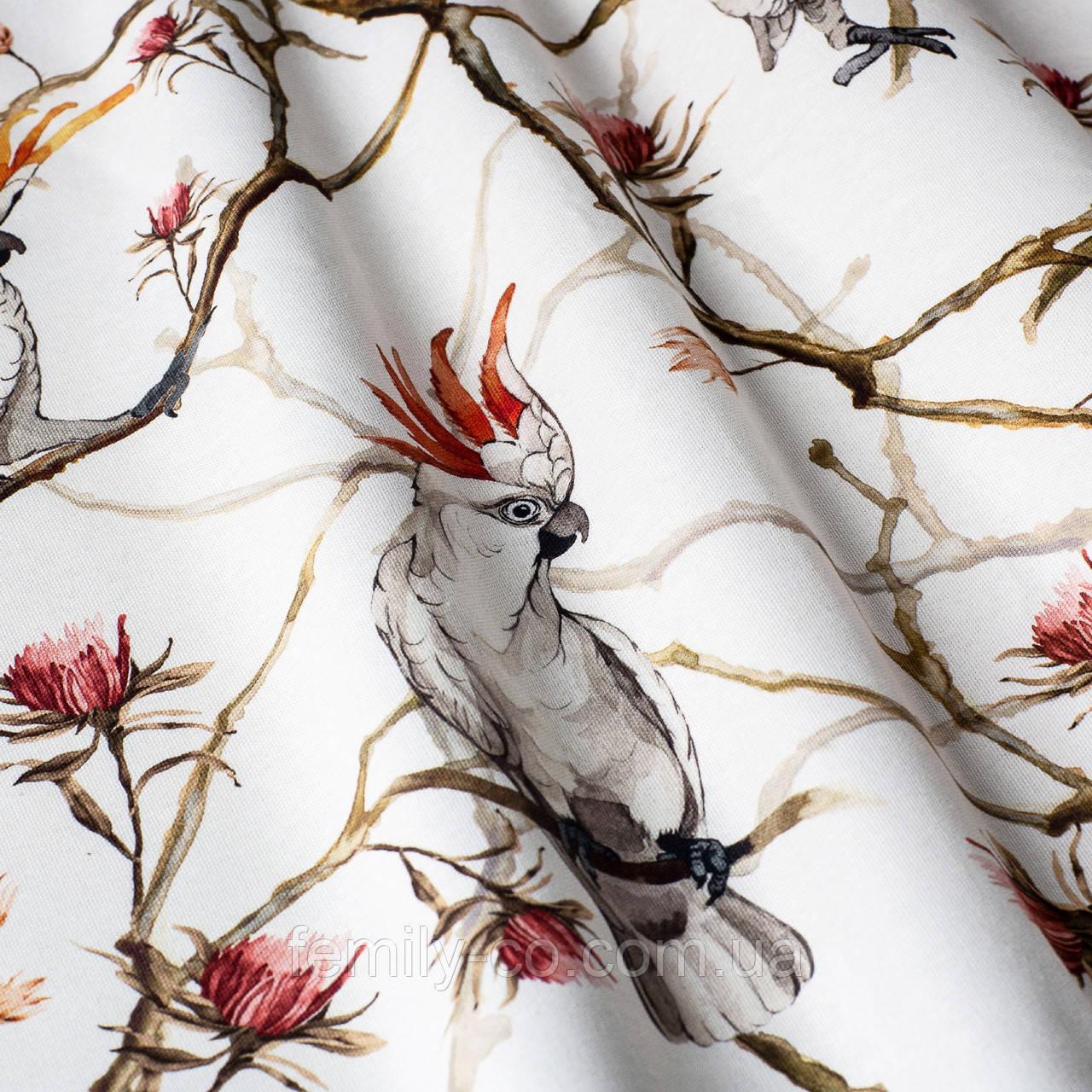 Декоративная ткань с крупными белыми попугаями на веточках 84304v1