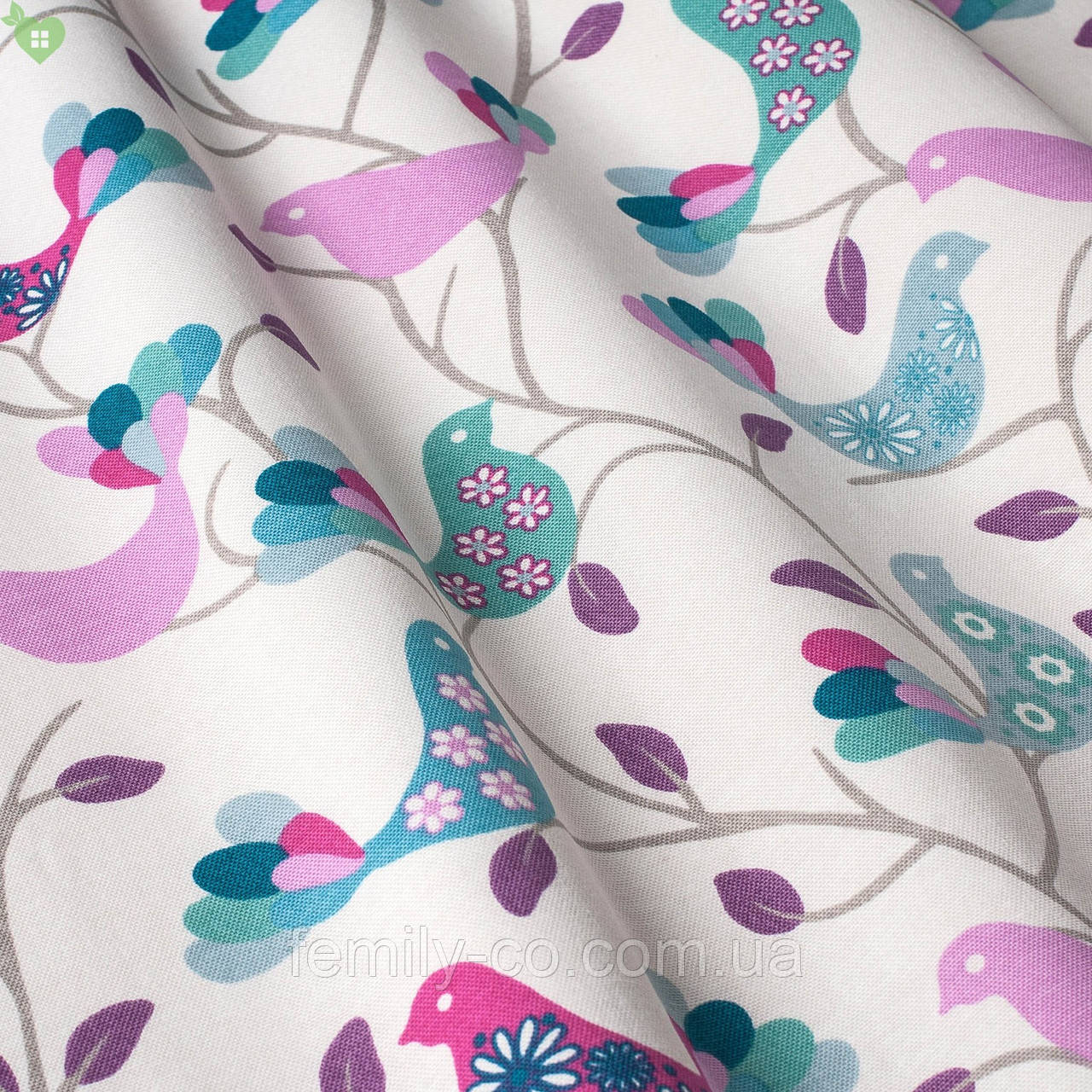 Декоративная ткань с розовыми и голубыми птицами на молочном фоне Турция 83590v14
