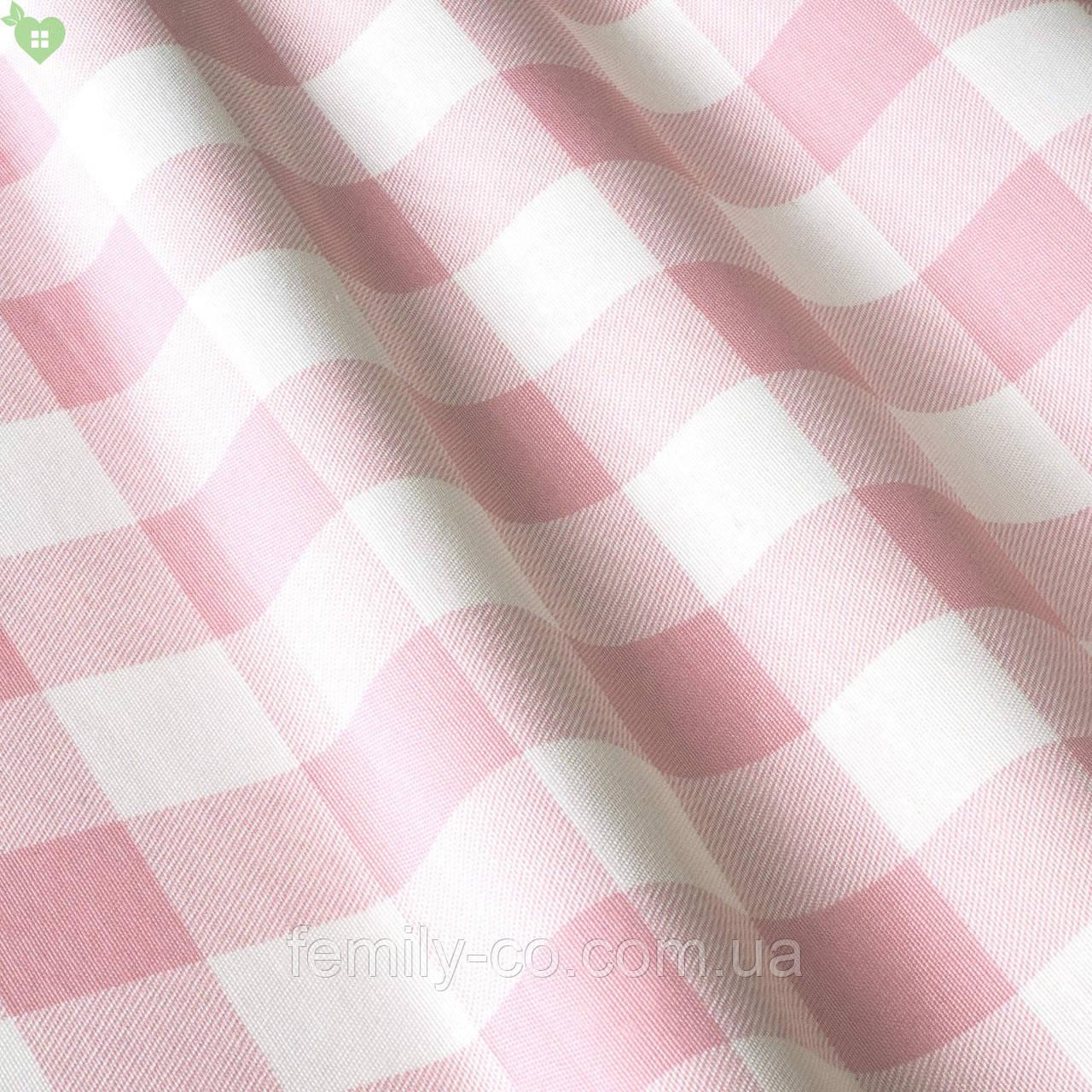 Декоративная ткань в мелкую клетку розового цвета Турция 015236v9
