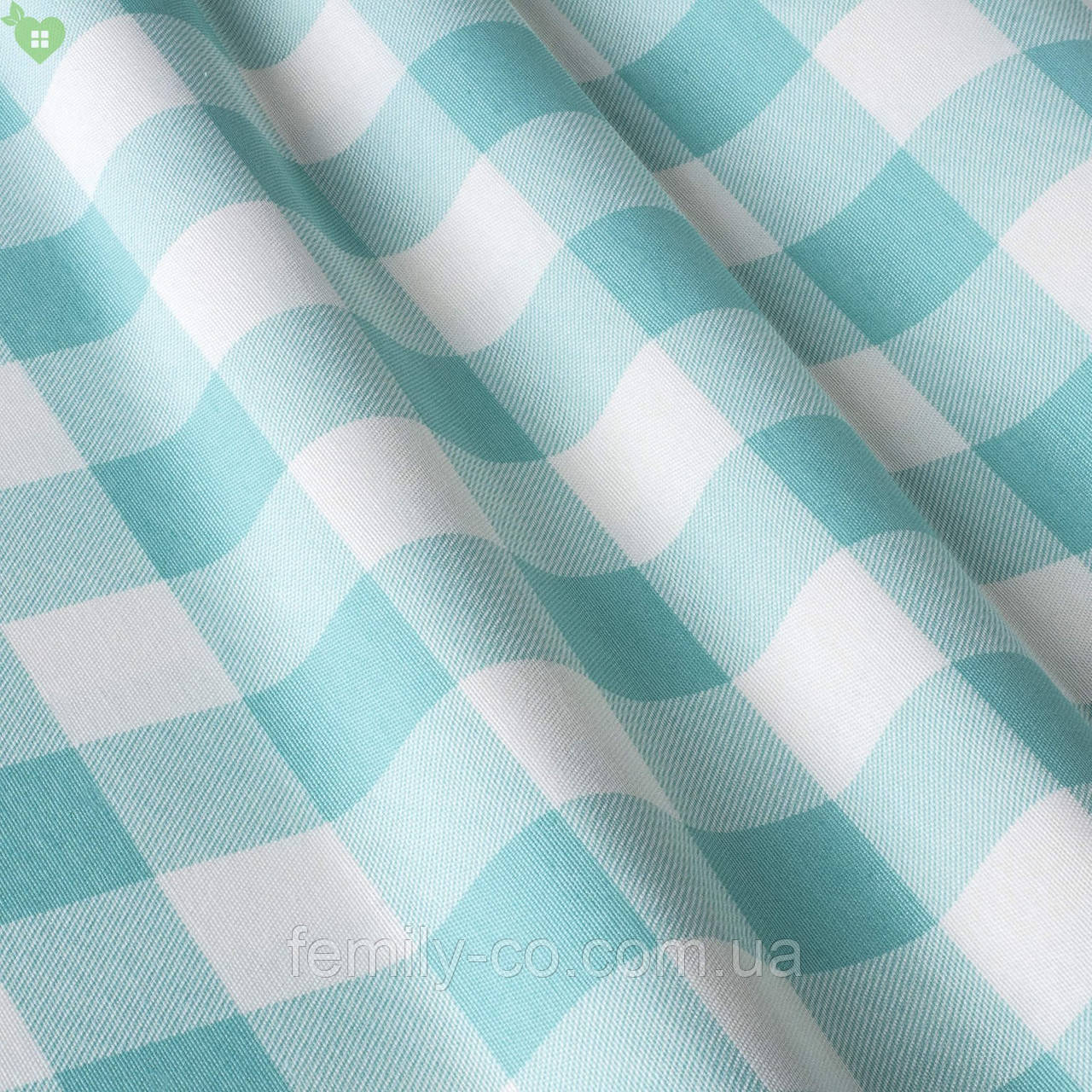 Декоративная ткань в мелкую бирюзовую клетку Турция 015236v2