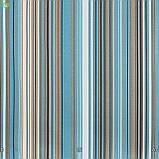 Декоративная ткань в тонкую коричневую и белую полосу на голубом с тефлоном 051670v4, фото 2