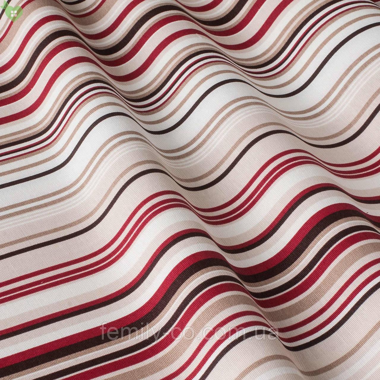 Декоративная ткань в тонкую бордовую бежевую и черную полосу с тефлоном 051670v1