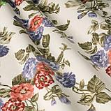 Декоративная ткань с мелкими сине-фиолетовыми и бордово-оранжевыми цветками на веточках Турция 130442v3, фото 2