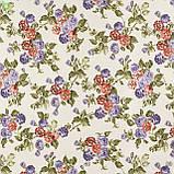 Декоративная ткань с мелкими сине-фиолетовыми и бордово-оранжевыми цветками на веточках Турция 130442v3, фото 3