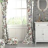 Декоративная ткань с мелкими сине-зелеными и красно-оранжевыми цветками на веточках Турция 130442v2, фото 2