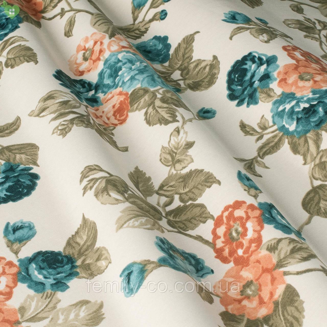 Декоративная ткань с мелкими сине-зелеными и красно-оранжевыми цветками на веточках Турция 130442v2