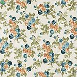 Декоративная ткань с мелкими сине-зелеными и красно-оранжевыми цветками на веточках Турция 130442v2, фото 3