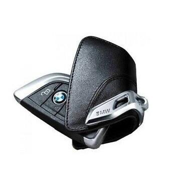 Оригинальный кожаный чехол для ключа BMW со стальным зажимом (82292344033)