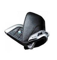 Оригінальний шкіряний футляр для ключа BMW зі стальним зажимом (82292344033)