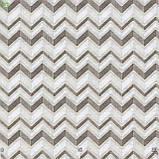 Декоративная ткань мелкий зигзаг коричневый с белым на льне 280см 83363v1, фото 3