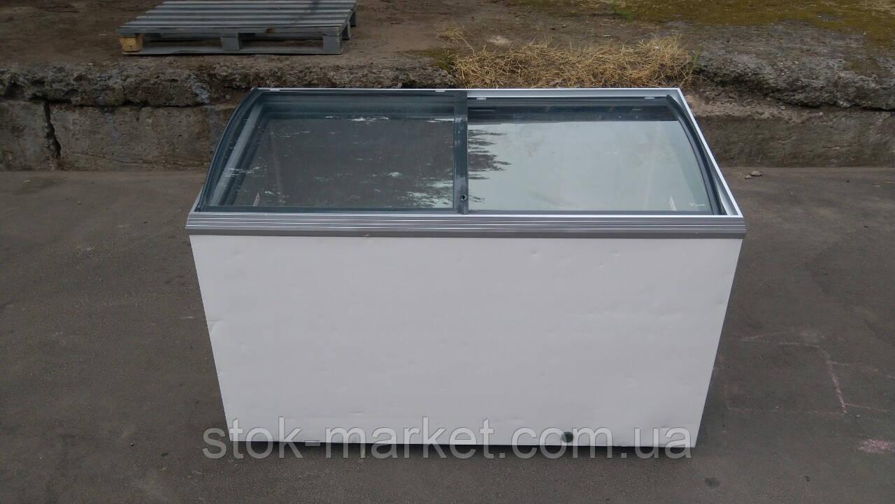 Ларь морозильный 400 л. Ларь гнутое стекло б/у.