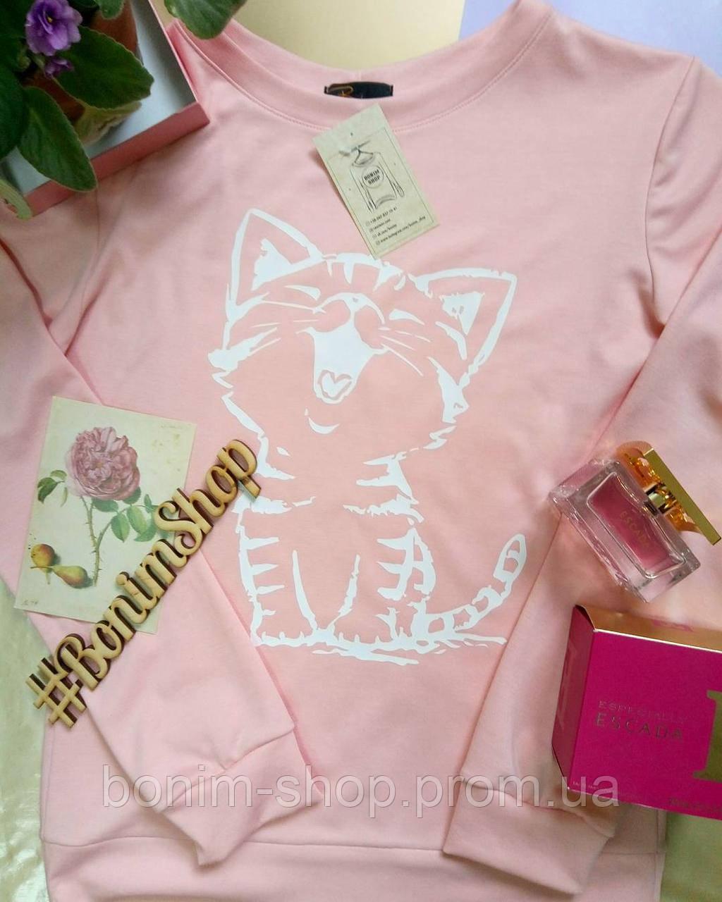 Розовый женский свитшот с принтом Котёнок