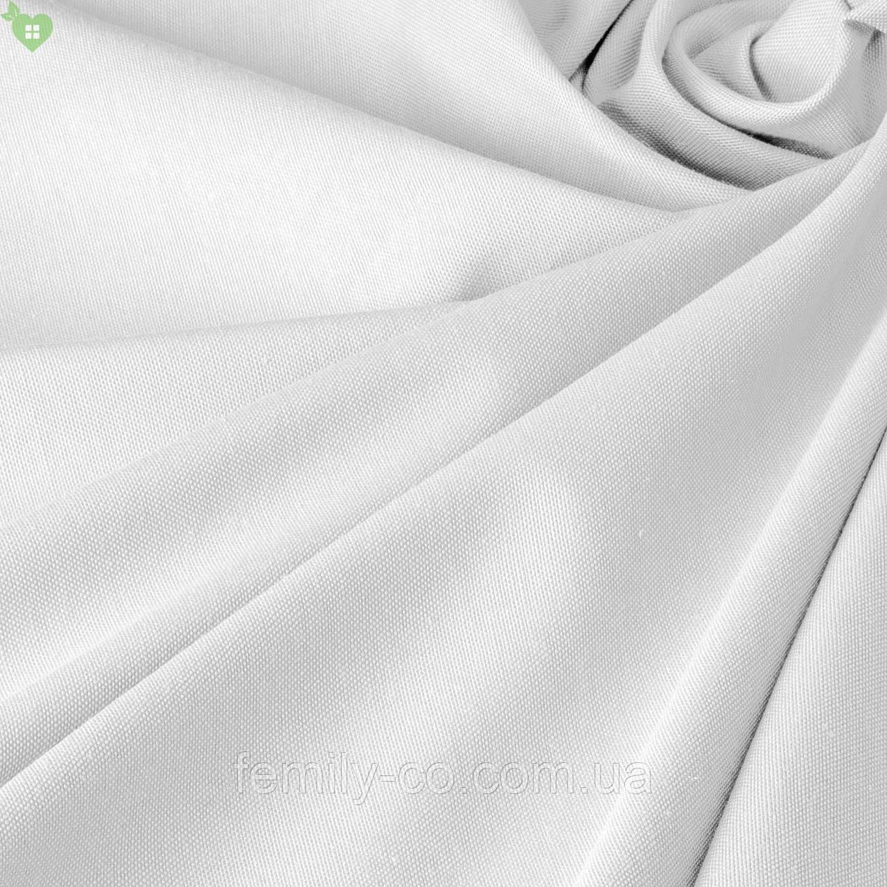 Однотонная декоративная ткань белого цвета с тефлоном 81158