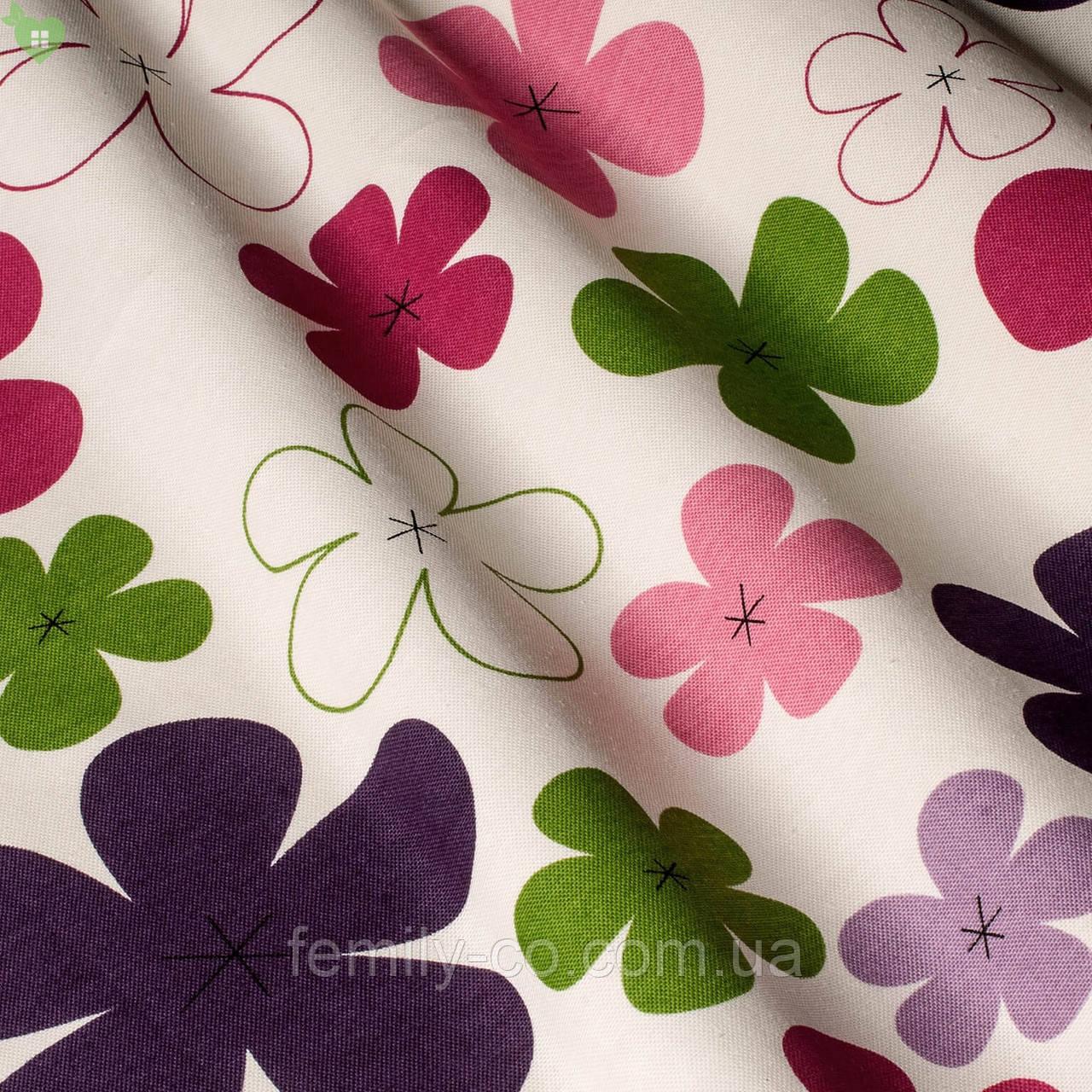 Декоративная ткань детские разноцветные цветы зеленого розового сиреневого и фиолетового цвета