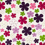 Декоративная ткань детские разноцветные цветы зеленого розового сиреневого и фиолетового цвета, фото 3