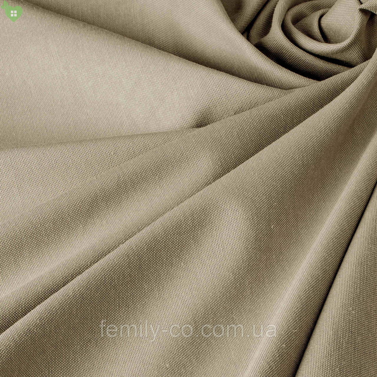 Однотонная декоративная ткань серо-бежевая с тефлоном 82756