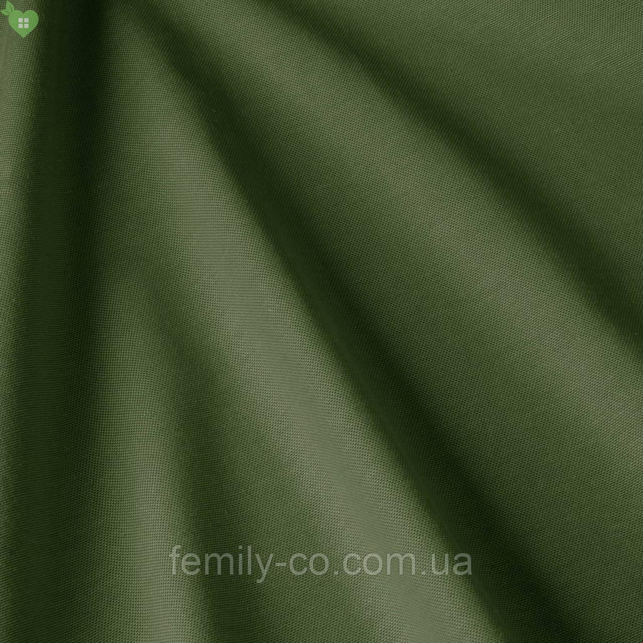 Однотонная декоративная ткань глубокого оливково-зеленого цвета Турция 83170