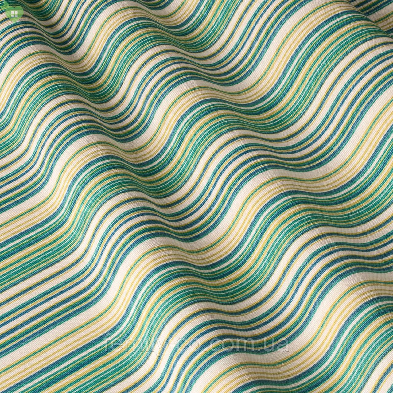 Декоративная ткань в полоску зелено-голубого цвета с синим Турция 82788v71