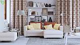 Декоративная ткань с узорами коричневого цвета в виде вензеля на светло-розовом фоне Испания 82692v6, фото 2