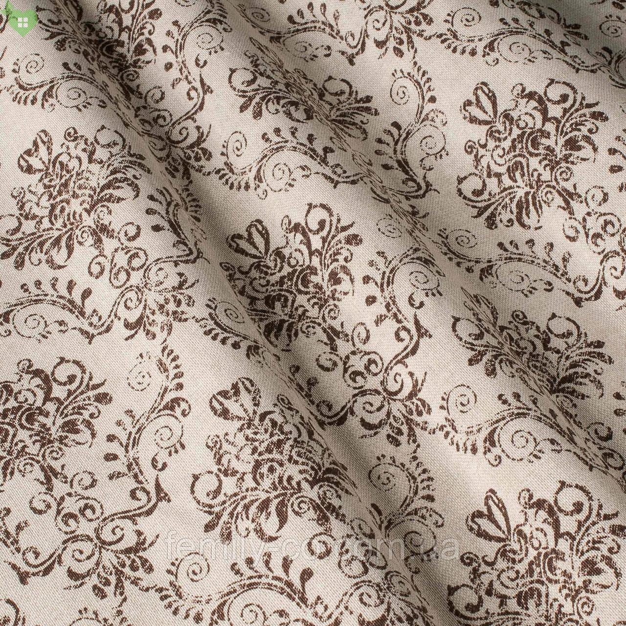 Декоративная ткань с узорами коричневого цвета в виде вензеля на светло-розовом фоне Испания 82692v6