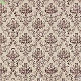 Декоративная ткань с узорами коричневого цвета в виде вензеля на светло-розовом фоне Испания 82692v6, фото 3