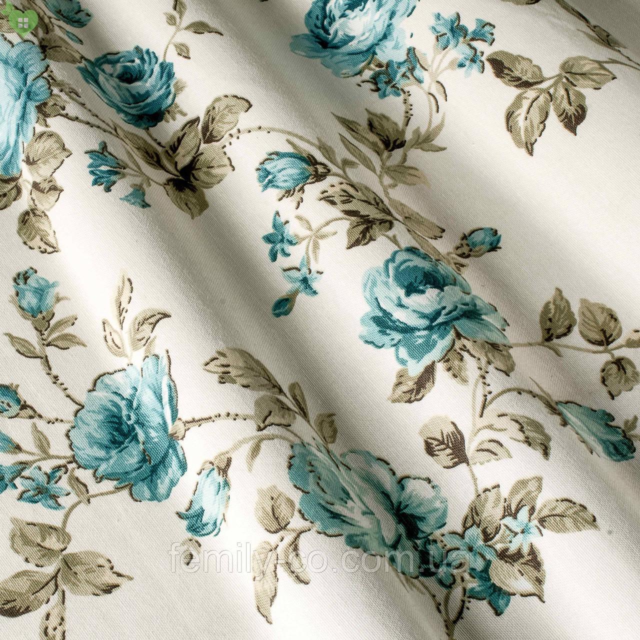 Декоративная ткань крупные голубые розочки на веточках с открытыми и закрытыми бутонами Турция 82586v11
