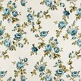 Декоративная ткань крупные голубые розочки на веточках с открытыми и закрытыми бутонами Турция 82586v11, фото 3