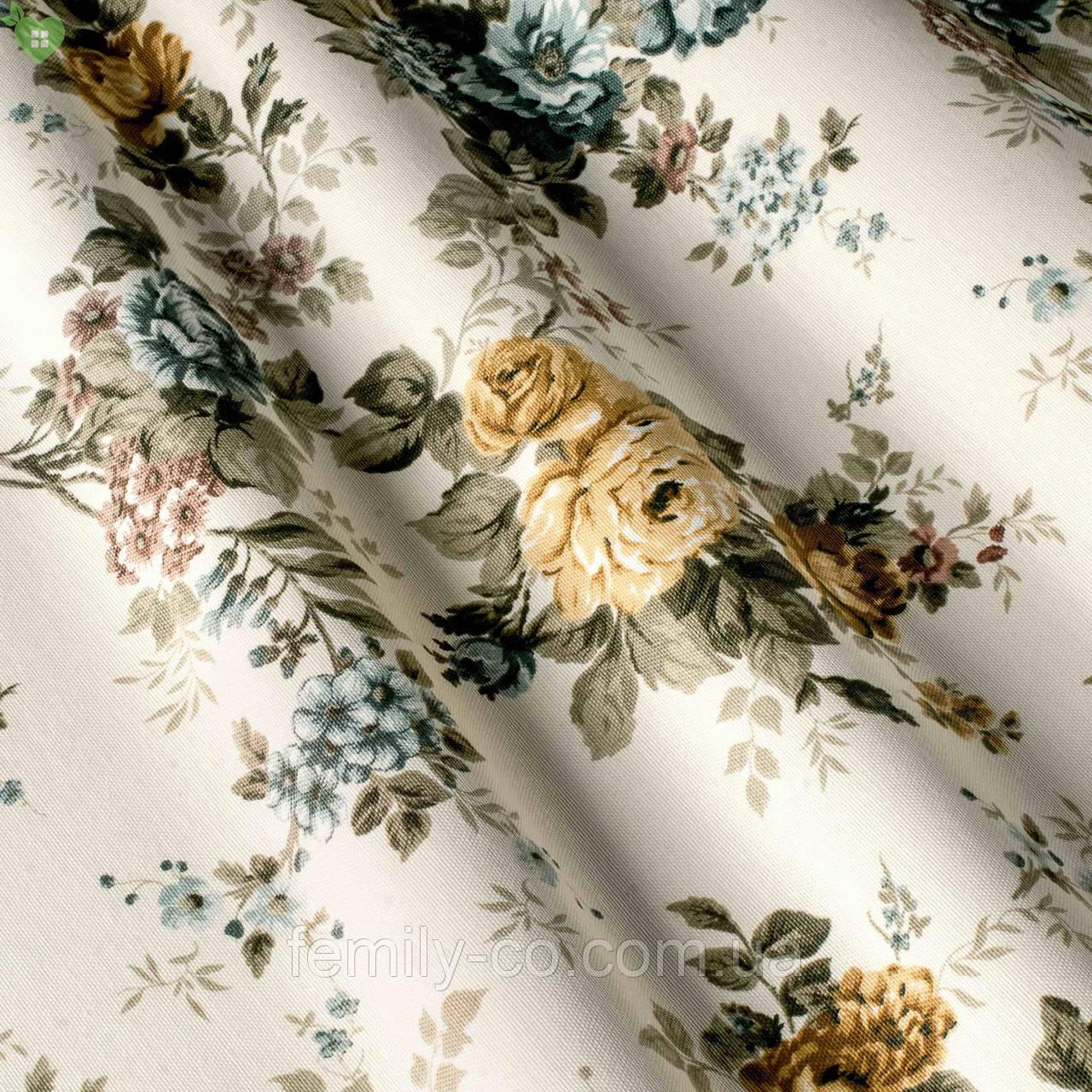 Декоративная ткань мелкие серые и бежевые розочки с узором Турция 81348v5