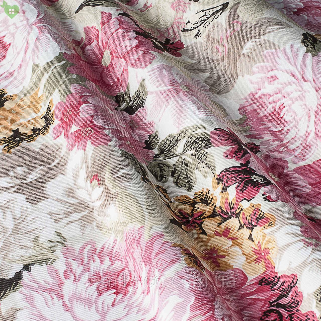 Декоративная ткань с букетами крупных разноцветных цветов Турция 82591v13