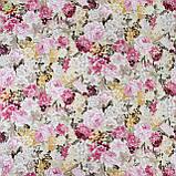 Декоративная ткань с букетами крупных разноцветных цветов Турция 82591v13, фото 3