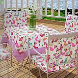 Декоративная ткань с розовыми и сиреневыми птичками белого цвета Турция 81228v2, фото 4