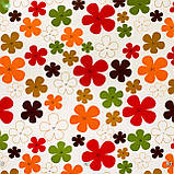 Декоративная ткань разноцветные цветы коричневого оранжевого красного и зеленого цвет с тефлоном 81558v19, фото 3