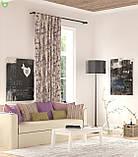 Декоративная ткань с ярко-сиреневыми бутонами роз на бурых веточках с бабочками тефлон 81698v9, фото 2