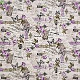 Декоративная ткань с ярко-сиреневыми бутонами роз на бурых веточках с бабочками тефлон 81698v9, фото 3