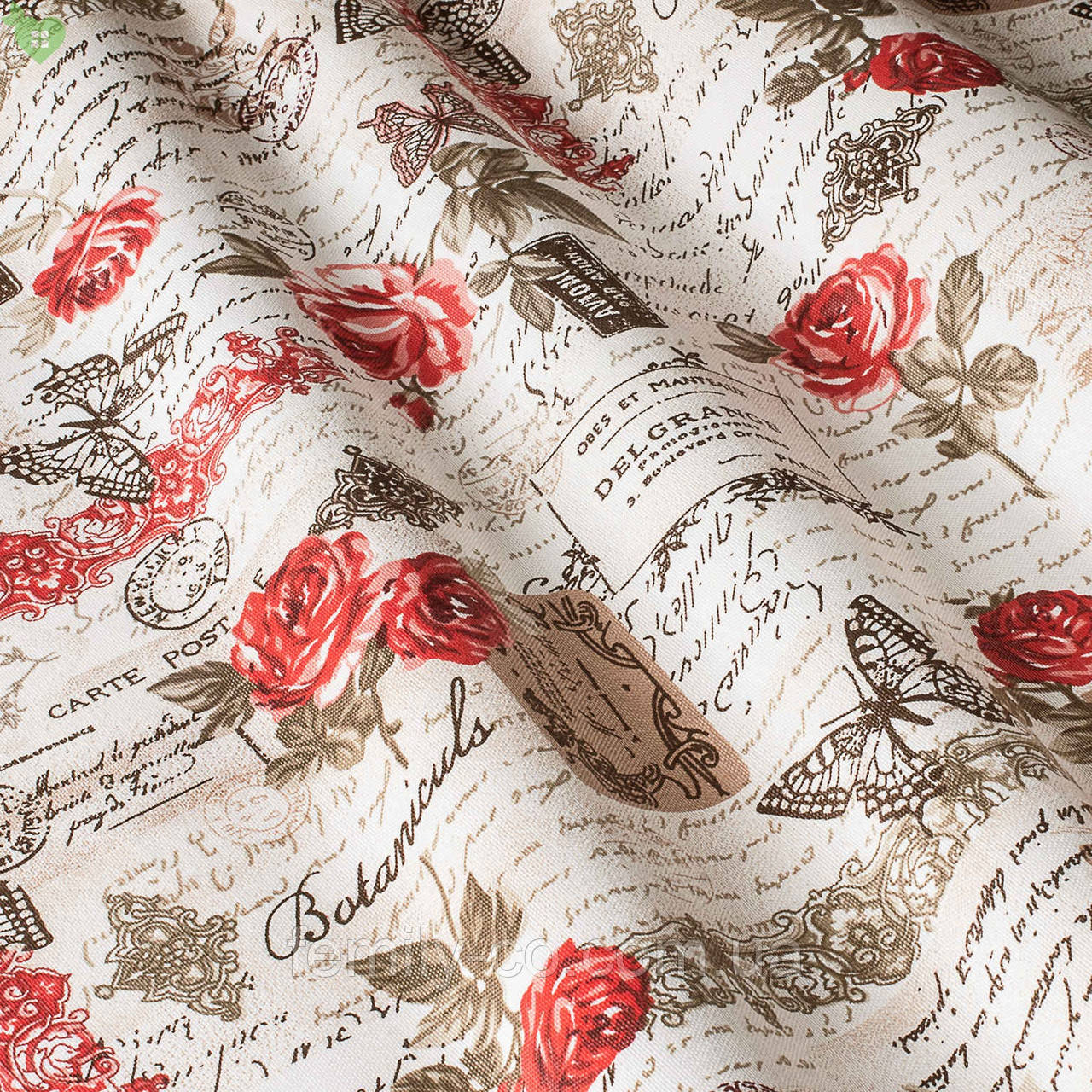 Декоративная ткань веточки с бутонами красных роз и коричневые надписи Турция 81692v13