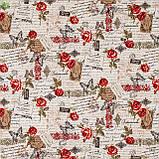 Декоративная ткань веточки с бутонами красных роз и коричневые надписи Турция 81692v13, фото 3
