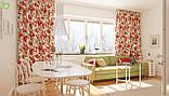 Декоративная ткань веточки с крупными бутонами бордовых и желтых роз со стеблями Турция 81514v15, фото 2