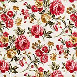 Декоративная ткань веточки с крупными бутонами бордовых и желтых роз со стеблями Турция 81514v15, фото 3