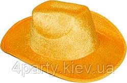 Шляпа Ковбоя велюр (желтая) 170216-312