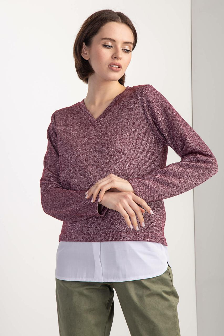 Блестящая кофта RENEE S из люрексового трикотажа с эффектом рубашки