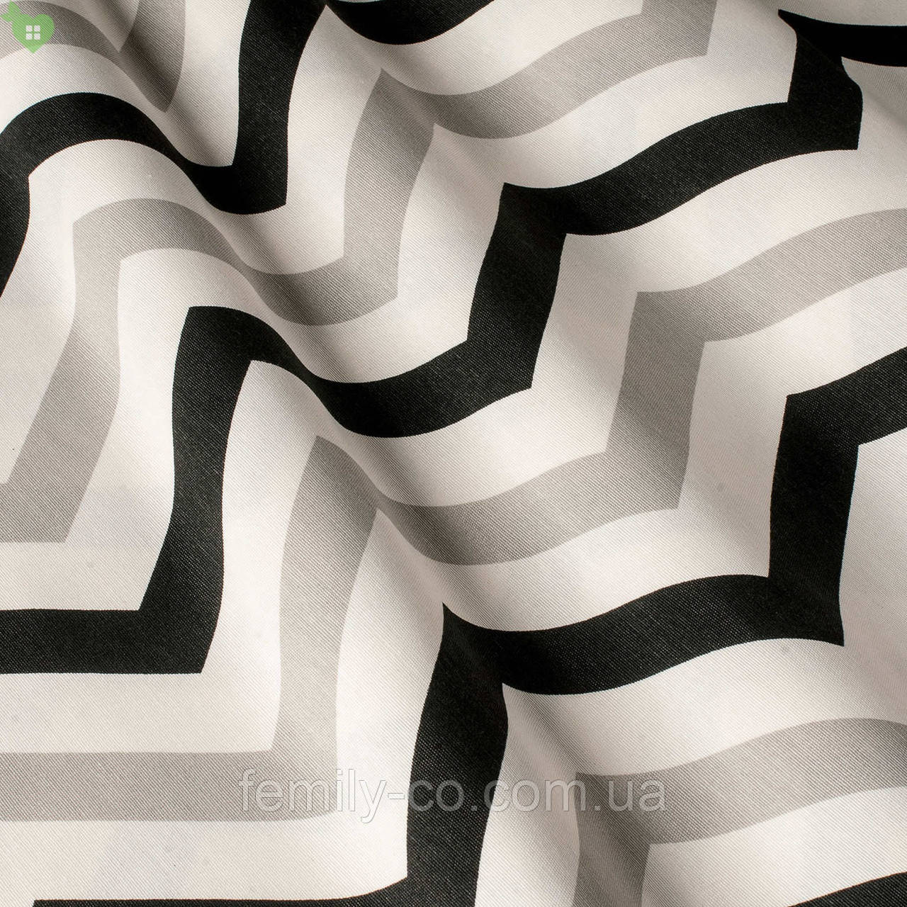 Декоративная ткань с зигзагообразными полосами молочного черного и серебристого цвета с тефлоном 82863v3