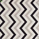 Декоративная ткань с зигзагообразными полосами молочного черного и серебристого цвета с тефлоном 82863v3, фото 3