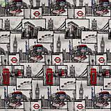 Декоративная ткань с объектами и текстами лондонской тематики серого цвета Испания 82836v1, фото 3