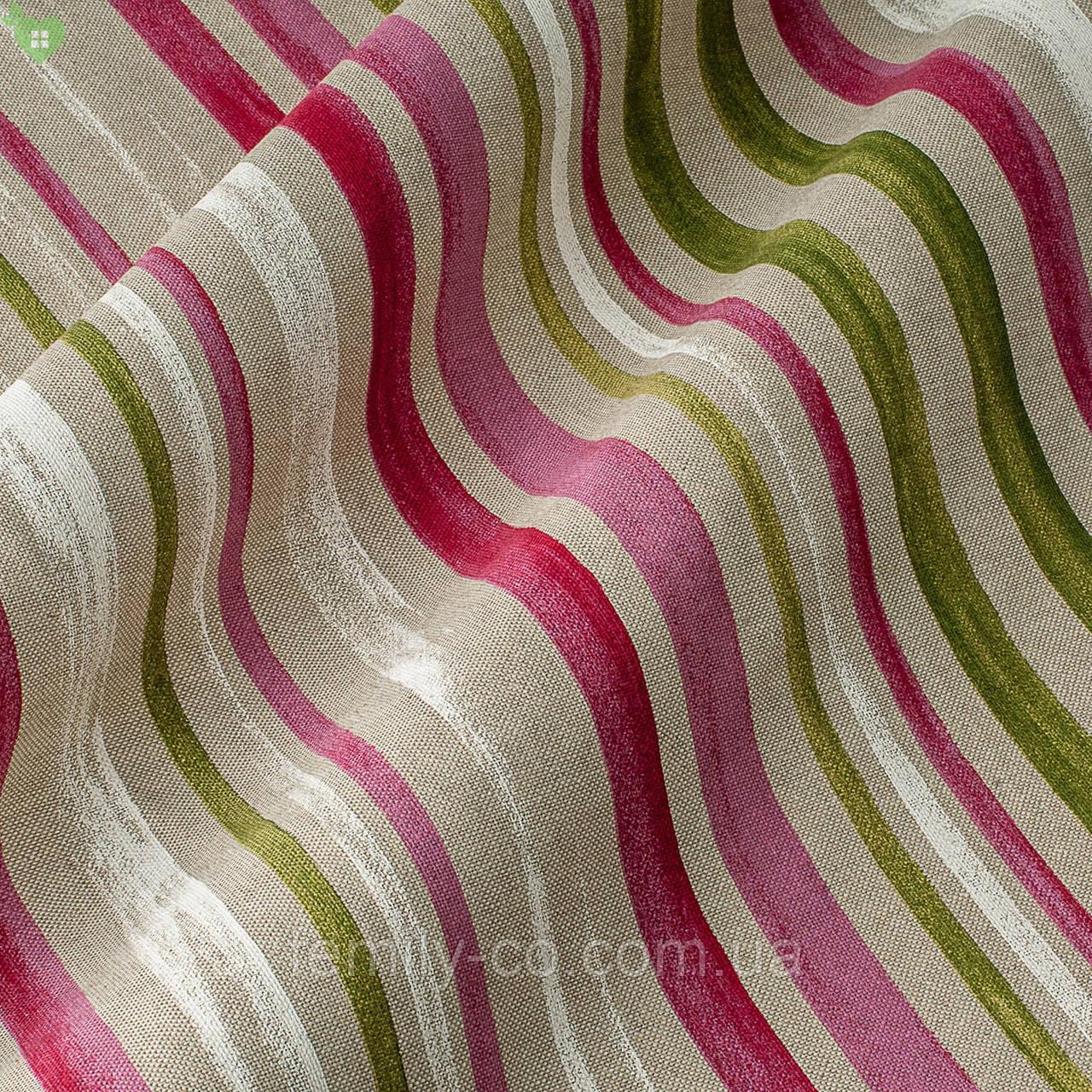 Декоративная ткань в тонкую красную и зеленую полоску на наляписто-белом Испания 82827v1