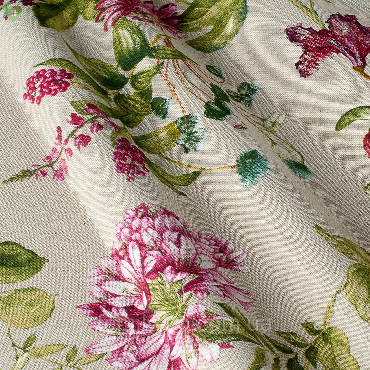 Декоративная ткань с мелкими полевыми цветами розового цвета на льняном фоне Испания 82824v1