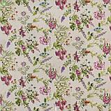 Декоративная ткань с мелкими полевыми цветами розового цвета на льняном фоне Испания 82824v1, фото 3