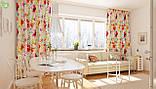 Декоративная ткань с крупными яркими разноцветными цветами на белом фоне Испания 82806v1, фото 2