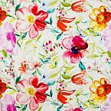 Декоративная ткань с крупными яркими разноцветными цветами на белом фоне Испания 82806v1, фото 3
