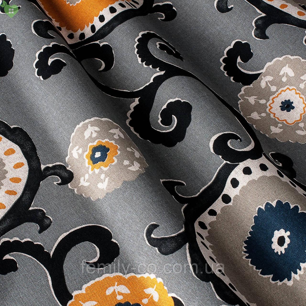 Декоративная ткань узорчатые круги с черными стеблями растений на пурпурном фоне Испания 82674v1